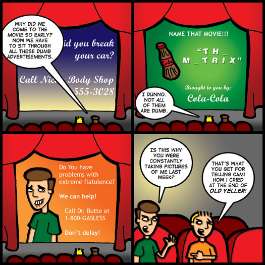 theater, advertisement, crying, Old Yeller, revenge, prank