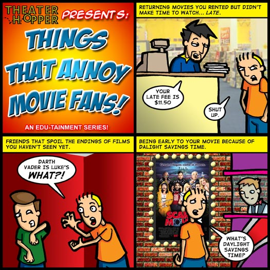 Things That Annoy Movie Fans, late fees, spoilers, Darth Vader, Luke Skywalker, Daylight Savings Time