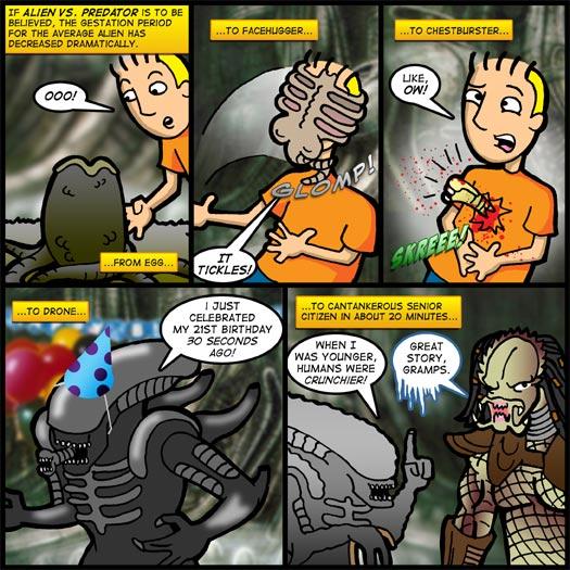 Alien Vs. Predator, gestation, egg, facehugger, chstburster, drone, senior citizen, tickles