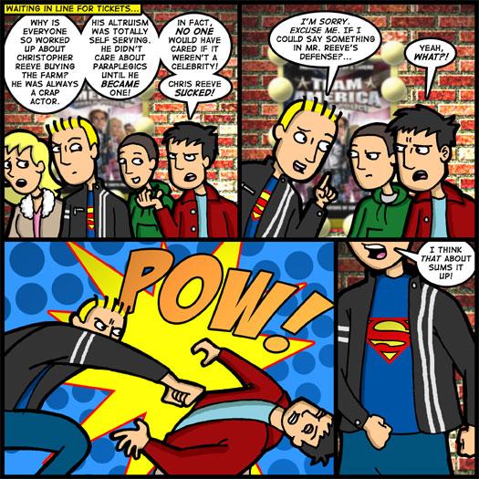 Christopher Reeve, death, punch, Superman, altruism, self serving, paraplegic, advocacy