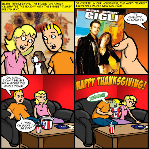 Thanksgiving, turkey, Gigli, Ben Affleck, Jennifer Lopez, salmonella, throwing up