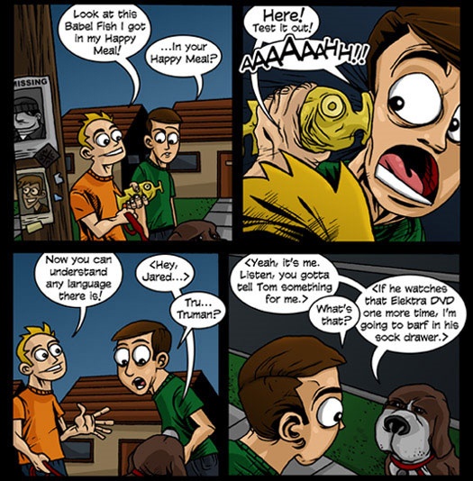 guest strip, Joe Dunn, Joe Loves Crappy Movies, MadMup, babel fish, Happy Meal, Truman, Elektra