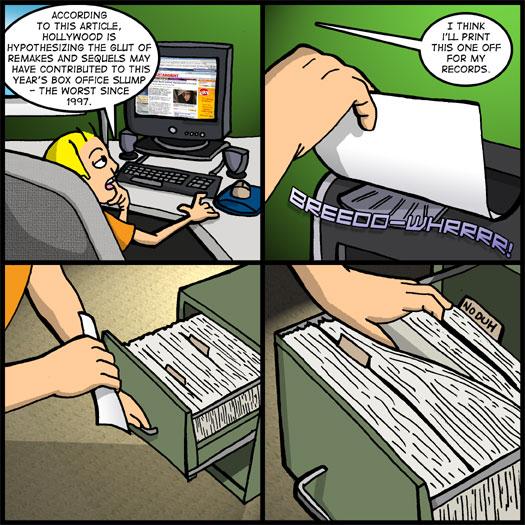 article, box office, Hollywood, slump, printer, filing cabinet, no duh