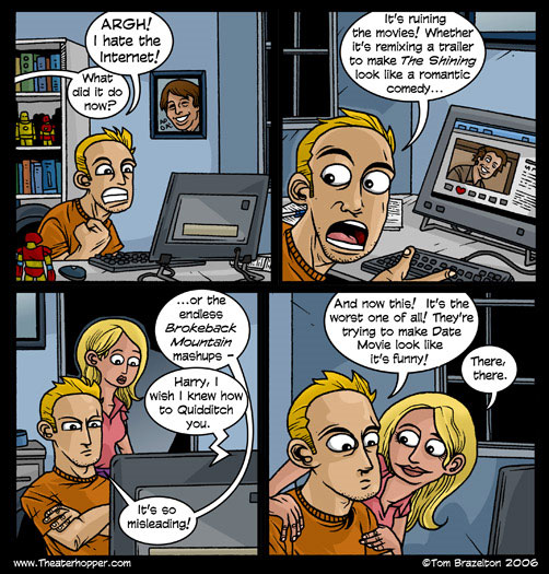 MadMup, Joe Dunn, guest strip, internet, frustration, mashup, Brokeback Mountain, The Shining, Harry Potter, Date Movie