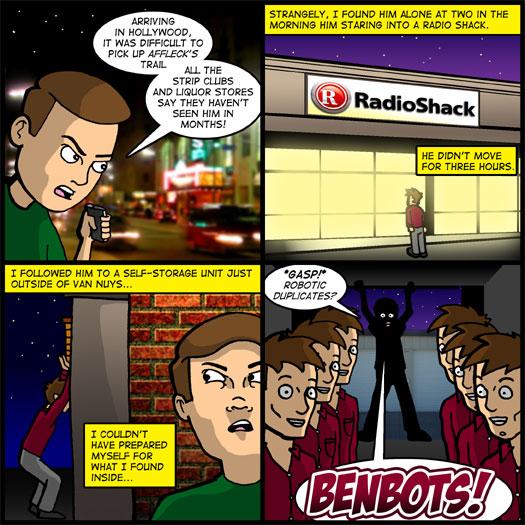 Ben Affleck, robots, Benbots, Radio Shack, discovery