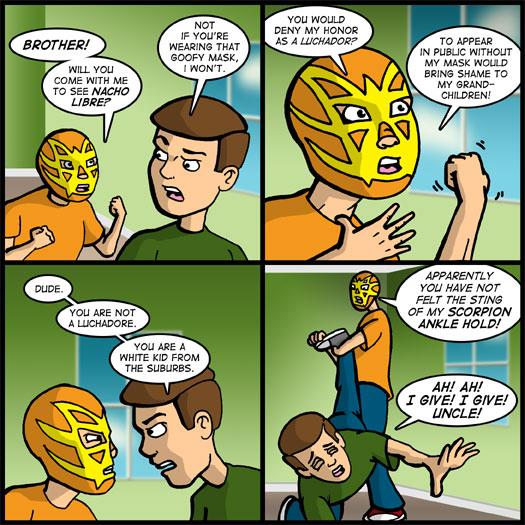 Nacho Libre, wrestling mask, Luchadore, delusion