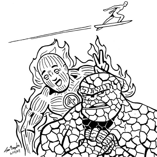 Fantastic Four, Silver Surfer, Human Torch, The Thing, Norrin Radd, Johnny Storm, Ben Grimm, sketch
