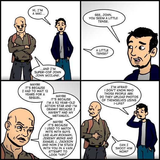 Live Free or Die Hard, John McClane, Bruce Willis, Justin Long, Mac, PC, parody
