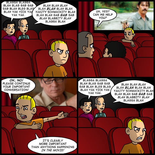 No Country For Old Men, talking during a movie, conversation