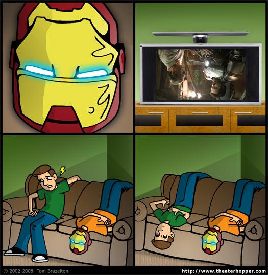Iron Man, helmet, upside down, couch