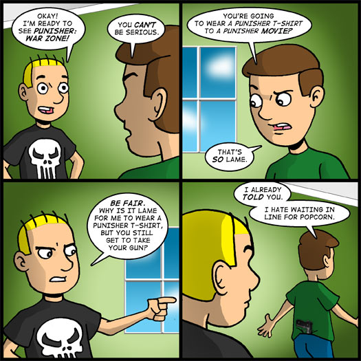 Punisher: War Zone, t-shirt, gun, waiting, popcorn