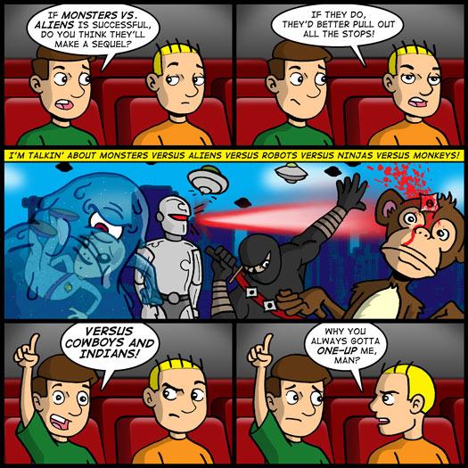 Monsters Vs. Aliens, sequel, monsters, aliens, robots, ninjas, monkeys, cowboys, indians, one-up