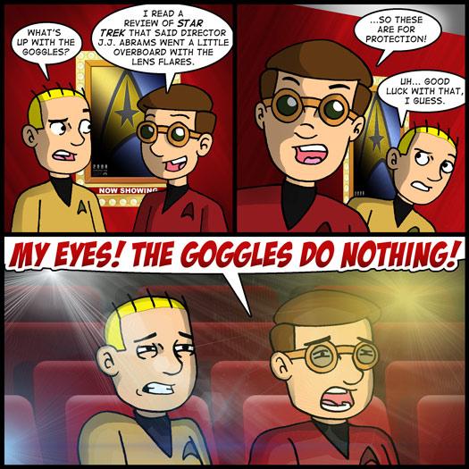 Star Trek, J.J. Abrams, lens flares, googles, eyes, protection, The Simpsons, Rainier Wolfcastle, Radioactive Man