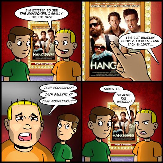 The Hangover, Ed Helms, Bradley Cooper, Zach Galifianakis, pronounciation, Beardo the Weirdo, nickname