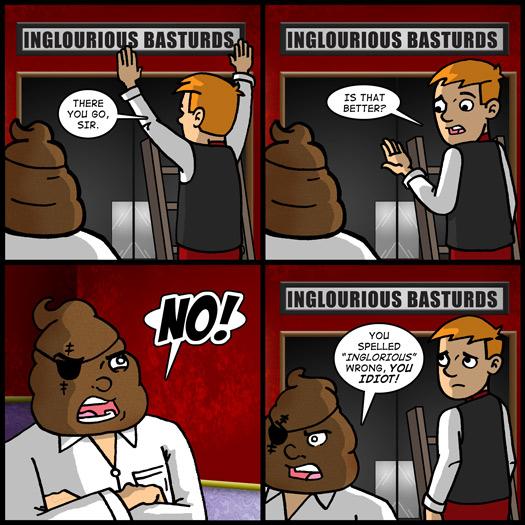 Inglourious Basterds, Quentin Tarantino, critic, spelling, poo poo head, Jimmy
