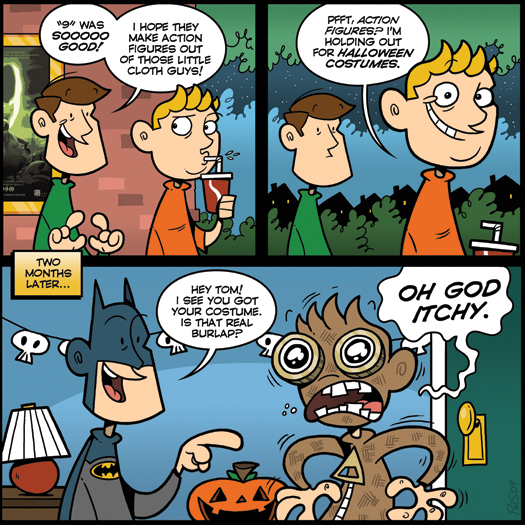 guest strip, Paul Southworth, Ugly Hill, You Are Dead, 9, burlap, costume, halloween, itchy, Batman