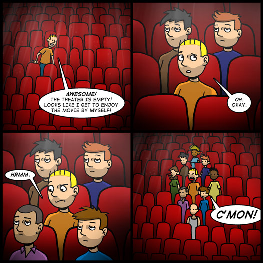 theater, empty, surrounded, personal space