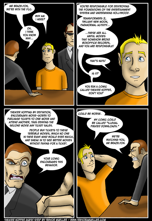 guest strip, Trevor Mueller, theater hopping, FCC, trouble, interrogation, Transformers 2: Revenge of the Fallen, Twilight, New Moon, Paranormal Activity
