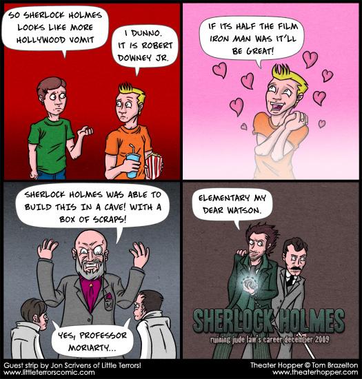 Sherlock Holmes, Watson, Professor Moriarty, Robert Downey Jr., Jude Law, Iron Man, guest strip, Jon Scrivens, Little Terrors