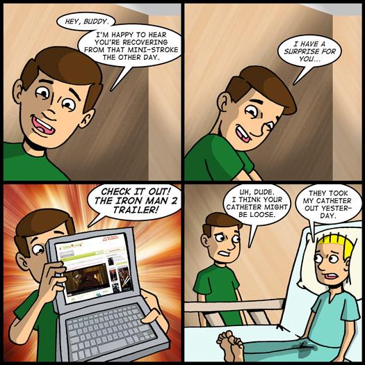 Iron Man 2, trailer, hospital, catheter, laptop, stroke, surprise