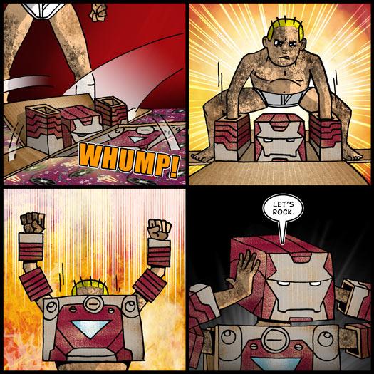 Iron Man 2, suitcase armor, cardboard, dress up, dramatic