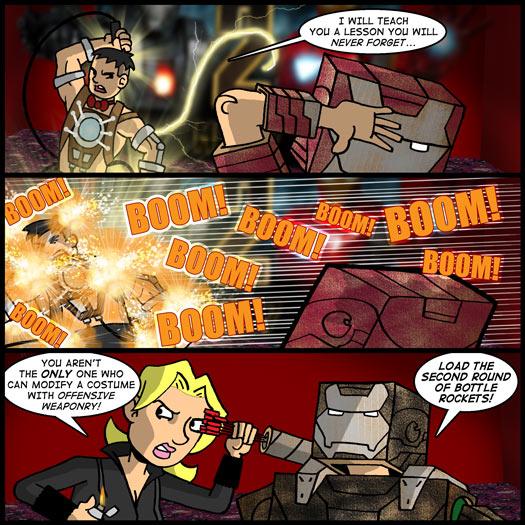 Victor, costume, dress up, Iron Man 2, Whiplash, bottle rockets, War Machine, Black Widow