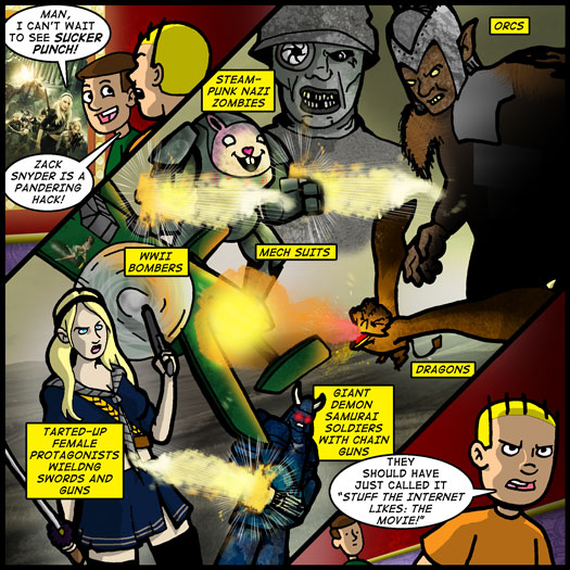 Sucker Punch, Zack Snyder, pandering, steampunk, nazi, zombie, orcs, dragons, mech, swords, guns, demons, samurai, chain gun, internet